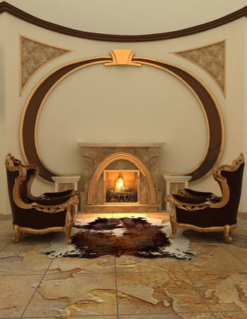 Armchairs near fireplace in modern interior. Warm photo
