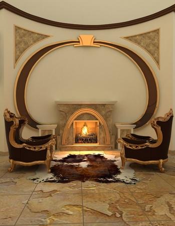 Armchairs near fireplace in modern interior. Warm photo