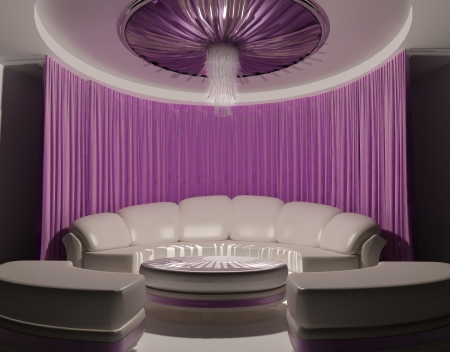 Curtain on the ceiling and sofa in luxury interior photo