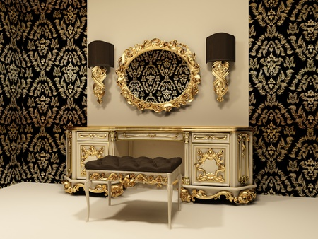 baroque room: Baroque table with mirror on the wallpaper background with ornament Stock Photo