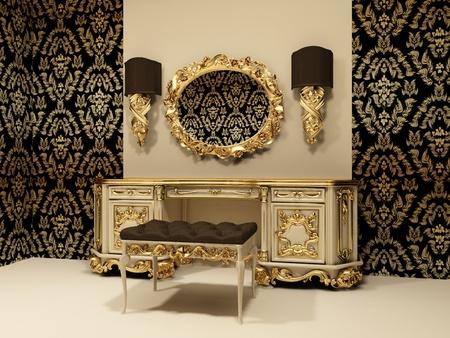 pansement: Table baroque avec miroir sur le fond d'�cran avec l'ornement Banque d'images
