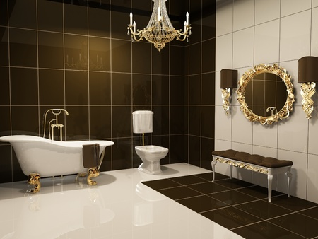 Luxurious interior of bathroom photo