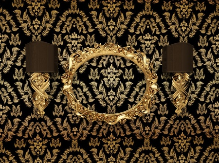 gorgeousness: Luxury gold frame against wallpaper with an ornament