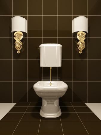 toilet sink: Cuarto de ba�o de ba�o moderno