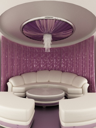 Round tent on the ceiling with Curtain and sofa in luxury interior photo