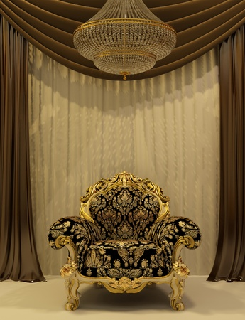 luster: Royal armchair with curtain in luxury interior Stock Photo