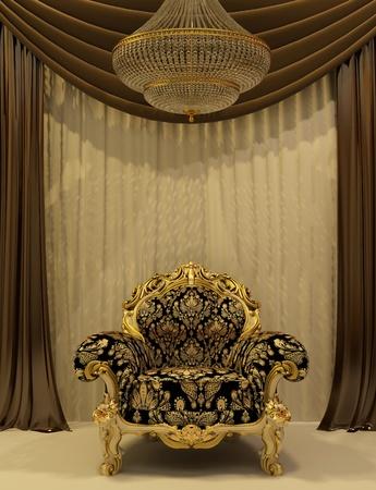 vestibule: Royal armchair with curtain in luxury interior Stock Photo