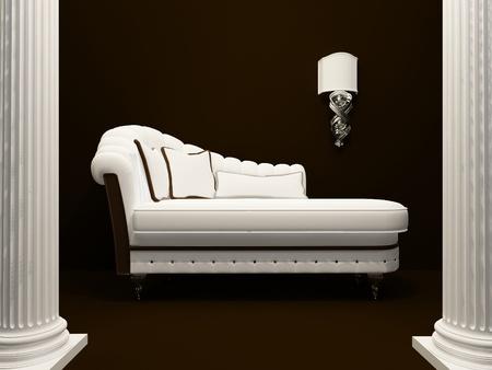 divan: Sofá clásico en medio de pilares