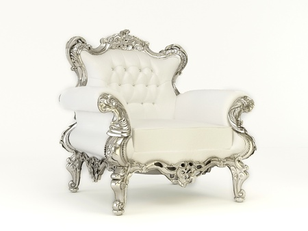 swanky: Luxurious  armchair with silver frame  on the white background Stock Photo