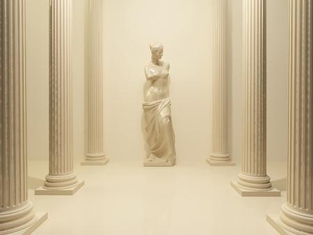 aphrodite: Antigua estatua de una Venus desnuda en medio de pilares de perspectiva