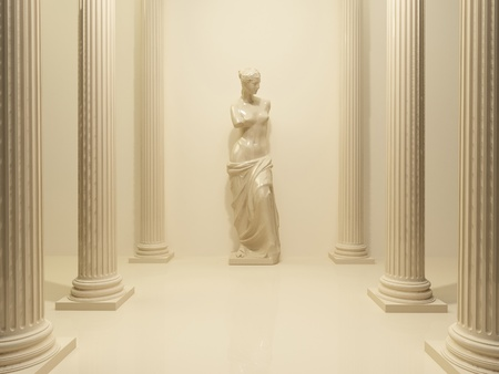 deesse grecque: Statue antique d'un nu de V�nus dans le milieu de piliers en perspective