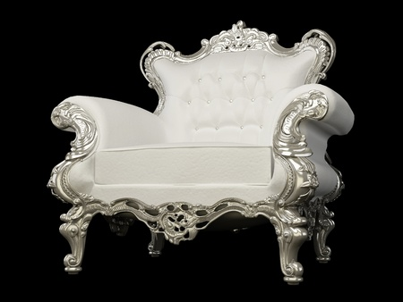 antique chair: Royal white armchair with silver frame  on the Black background