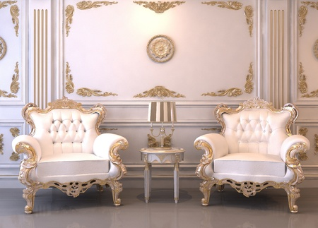 baroque room: Royal furniture in luxury interior