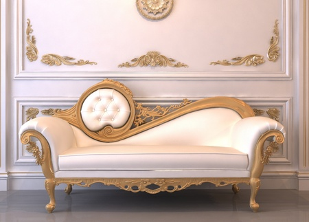 antique furniture: Luxurious leather sofa with frame in royal interior