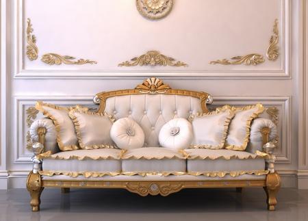 leren bank: Luxe lederen sofa met kussens in Royal interieur