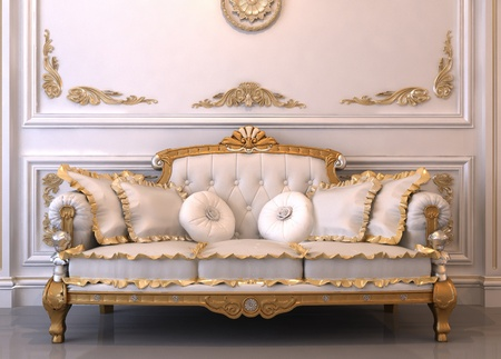 baroque room: Luxurious leather sofa with pillows in Royal interior