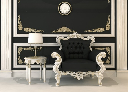 baroque room: Black leather armchair in royal interior Stock Photo