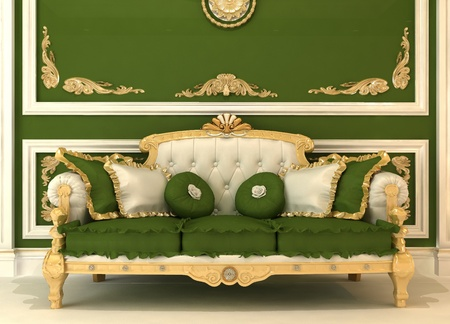 baroque room: Demonstration of Royal sofa with pillows in green luxury room Stock Photo
