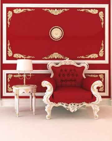 Luxurious armchair in royal red interior photo