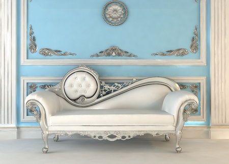 baroque furniture: Luxurious sofa in blue royal interior Stock Photo
