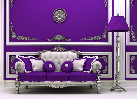 baroque room: Luxury sofa with lamp in magnificence interior Stock Photo
