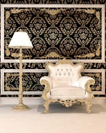 Leather armchair and lamp against the roayl  background of wallpapers