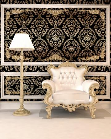 muebles antiguos: Sillón de cuero y lámpara contra el fondo de roayl de fondos de escritorio