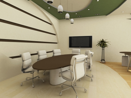 Table with chairs in  conference interior. Office. Stock Photo - 10350714