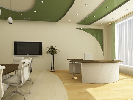 green office: Workplaces in modern office classical;  Stock Photo