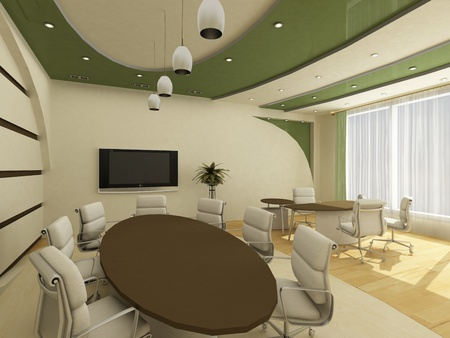 interior design office: Interior of modern  office with workplace
