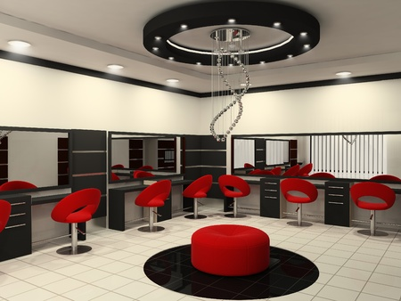 to hairdressing: Lussuosi interni di un salone di bellezza con soffitto creativo