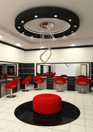 luxuriously: Workplaces and construction of ceiling in salon of beauty