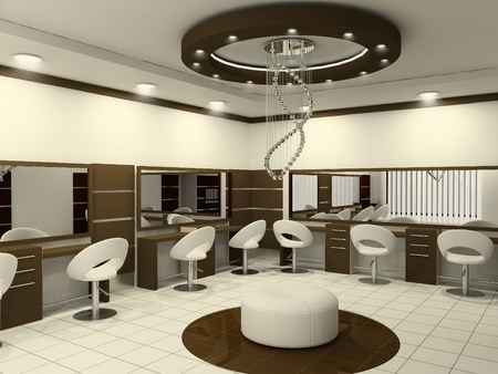 Interior of Luxury Beauty Salon. Workplaces. photo
