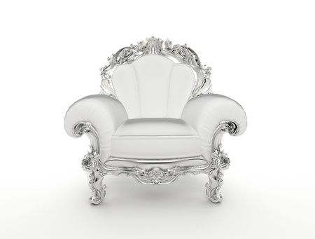 leather chair: Luxuty baroque armchair with silver frame isolated on white background