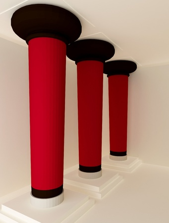 perspective of three red pillars Stock Photo - 10350700