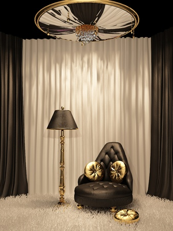 Luxurious furniture in royal interior photo