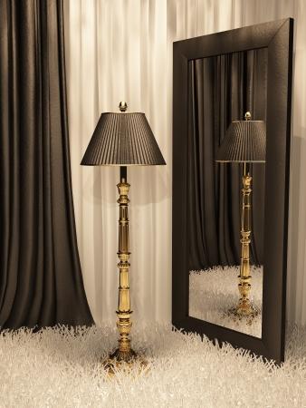 cortinas blancas: L�mpara de pie con espejo y alfombra en interior de lujo