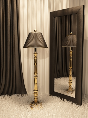 Standard lamp with mirror and carpet in luxurious interior Stock Photo