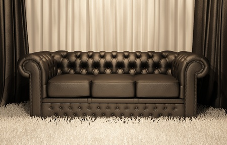 divan sofa: Brown leather Chester sofa in luxury interior Stock Photo
