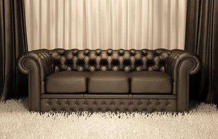 divan: Sof� de cuero marr�n Chester en interior de lujo Foto de archivo