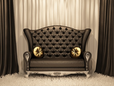 Luxurious leather sofa with pillows on the curtain background. Stock Photo - 10350725