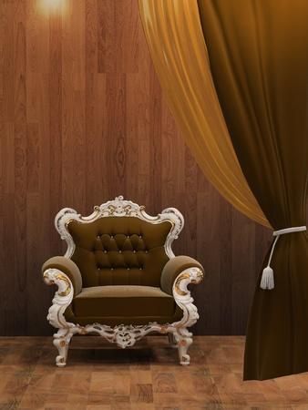Modern armchair in wooden interior  photo