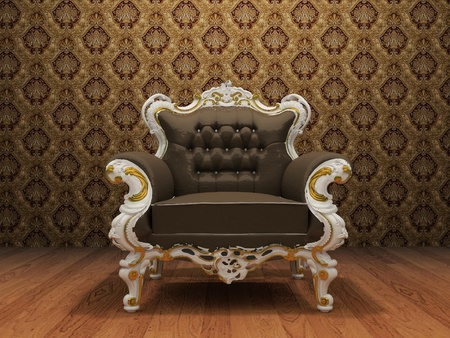 styled interior: Leather Luxurious armchair in old styled interior with ornament wallpaper Stock Photo
