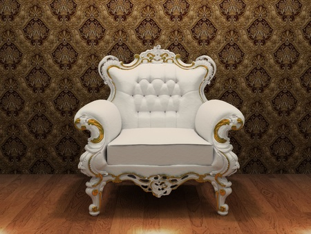 antique chair: luxurios armchair with decoration frame in old styled interior