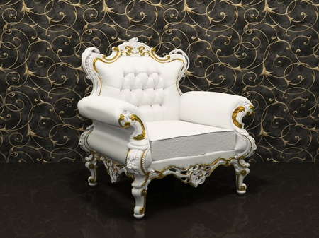 Leather luxury armchair with frame isolated on wallpaper with decoration photo
