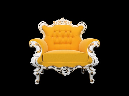 Modern armchair with decorative frame isolated on black background photo