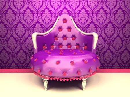 luxuriously: Luxurious armchair isolated on wallpaper with ornament in royal interior