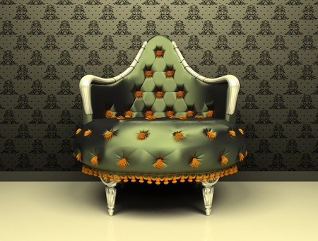 Luxury decorative armchair on ornament wallpaper background photo
