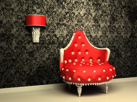 Armchair with lamp in interior with pattern wallpaper photo