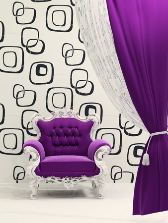 Royal armchair with curtain isolated on ornament wallpaper photo